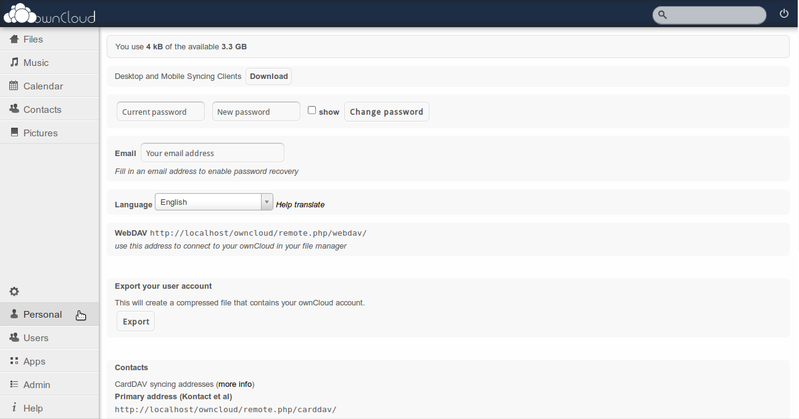 ownCloud admin personal How to Install ownCloud 4 in Ubuntu Server 12.04 LTS