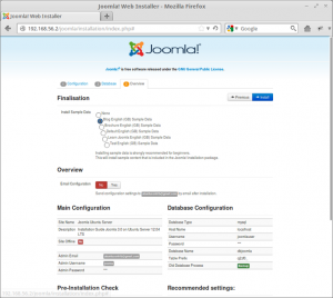 Joomla! Web Installer - Final Installation