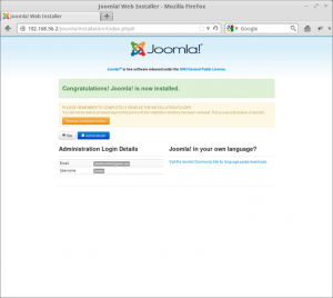 Joomla! Web Installer - Joomla Succesfully Installed