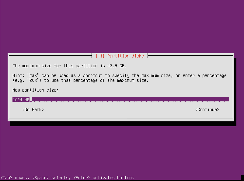 new partition for swap Ubuntu Server 12.10 64  Ubuntu Server 12.10 Quantal Quetzal Installation Guide