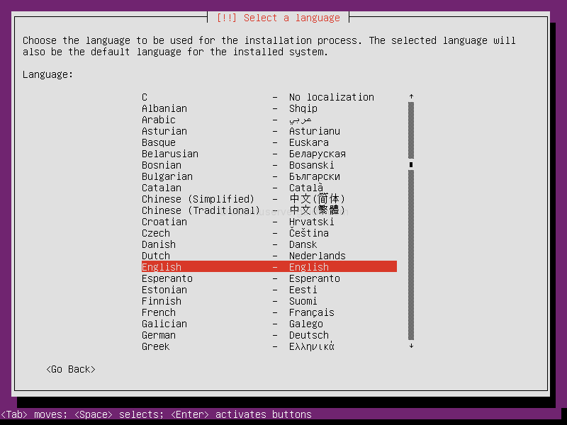 Ubuntu Server 13.10: select language