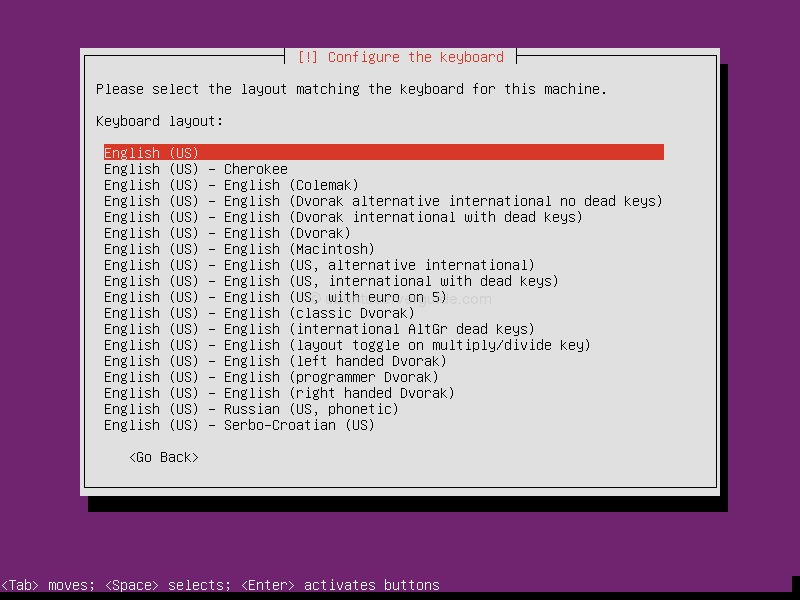 Ubuntu Server 13.10: select the layout matching the keyboard