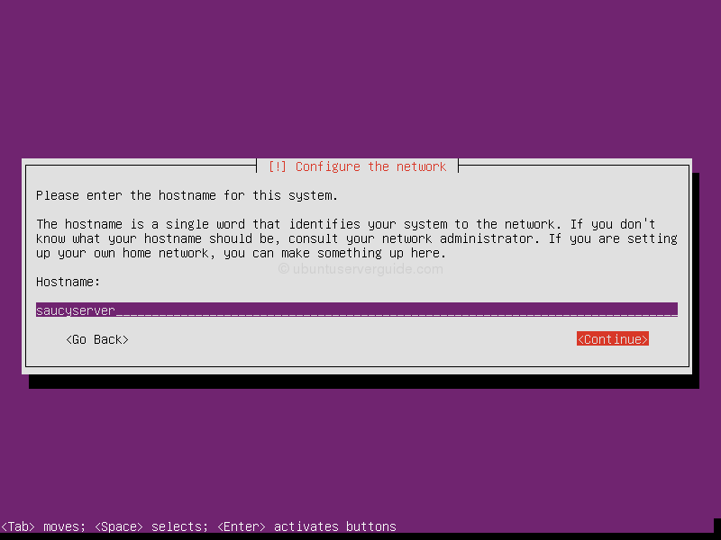 Ubuntu Server 13.10: Entering the hostname