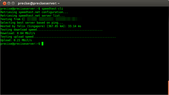 speed test using speedtest-cli
