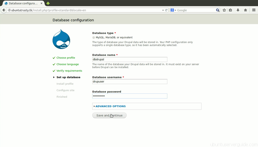 Install Drupal Step 3 How to Install Drupal 7.x with Apache2 + MySQl 5.5 + PHP 5.5 on Ubuntu Server 14.04 LTS
