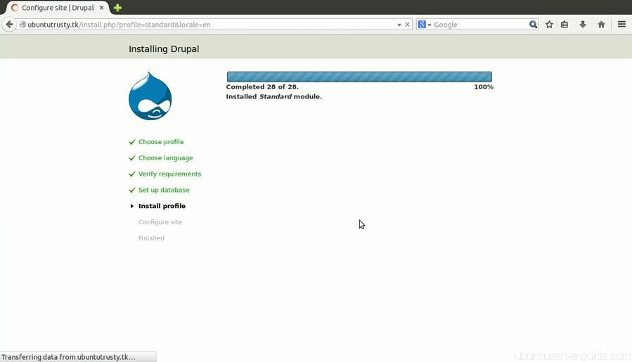 Install Drupal Step 4 How to Install Drupal 7.x with Apache2 + MySQl 5.5 + PHP 5.5 on Ubuntu Server 14.04 LTS