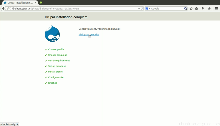 Install Drupal Step 6 How to Install Drupal 7.x with Apache2 + MySQl 5.5 + PHP 5.5 on Ubuntu Server 14.04 LTS