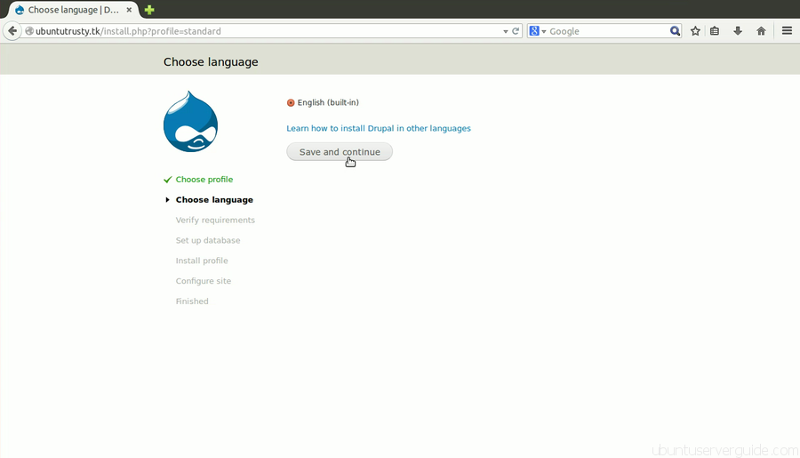 Install drupal Step 2 How to Install Drupal 7.x with Apache2 + MySQl 5.5 + PHP 5.5 on Ubuntu Server 14.04 LTS