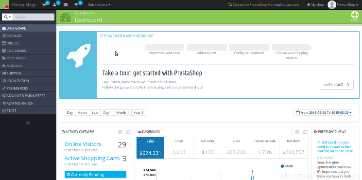 PrestaShop Site Dashboard