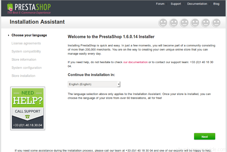 Prestashop Installation - Step 1 - Select language