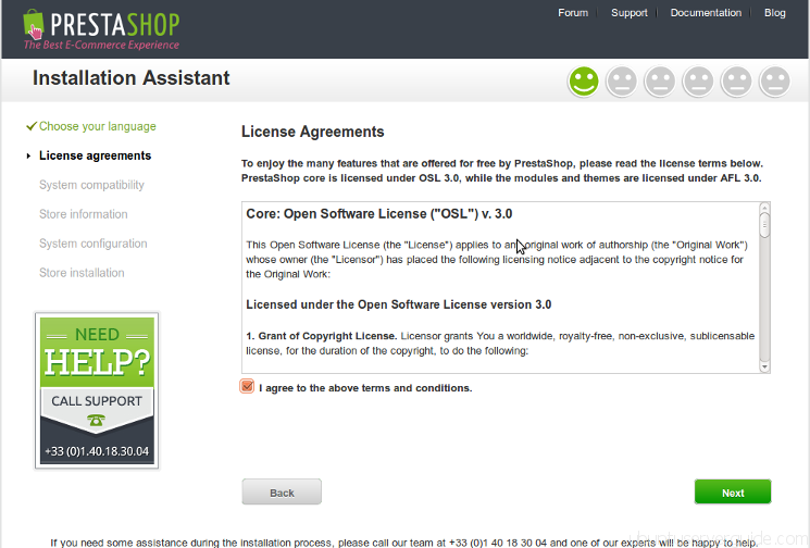 Prestashop Installation - Step 2 - License Agreement