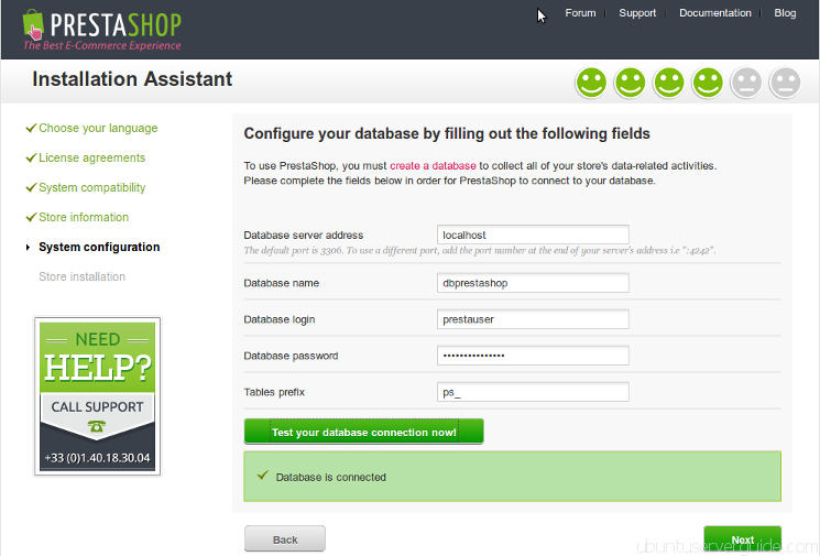 Prestashop Installation - Step 4 - Configure Database