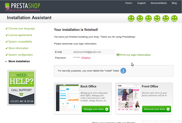 Prestashop Installation - Step 6